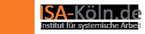 Ein Quadrat gebildet aus Tangramsteinen, rechts daneben steht in zwei Zeilen ISA-Koeln.de und darunter Institut für systemische Arbeit